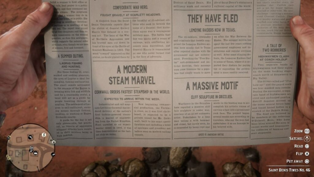 RDR2 cheat codes in news paper