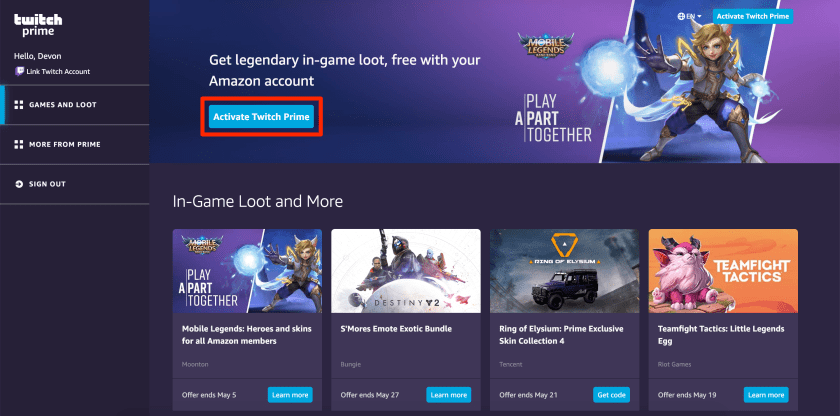 Activating Twitch Prime