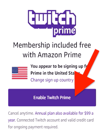 Enable twitch prime